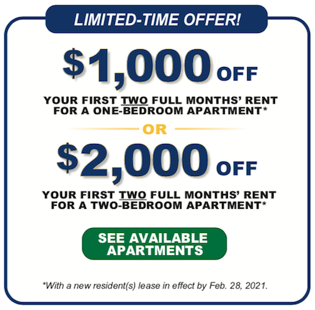 Limited time offer! New residents can receive discounts up to $2000 per month for 2 bedroom apartments. Call today for more details!
