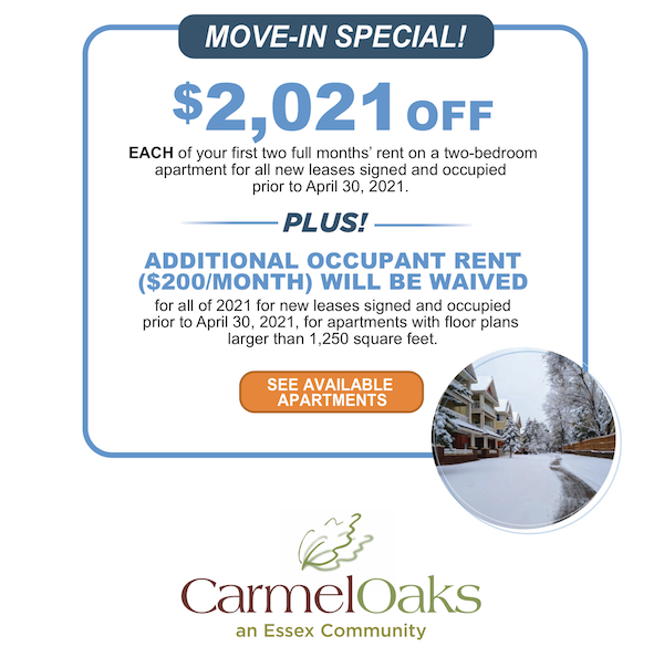 Move-in special! $2021 off each of your first two full months' rent on 2 bedroom apartments for all new leases before April 30, 2021.