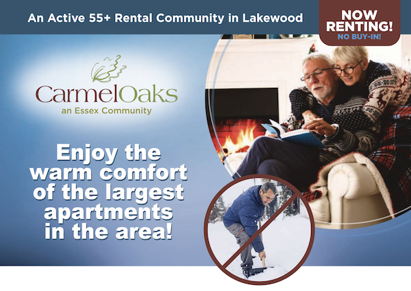 Carmel Oaks, an active 55 plus rental community in Lakewood. Enjoy the warm comfort of the largest apartments in the area!